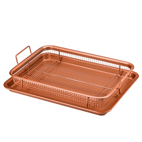 Copper Chef Crisper Tray - Non Stick Cookie Sheet Tray And Air Fry Mesh Basket Set, Transform Your Oven Into Oil Free Air Fryer