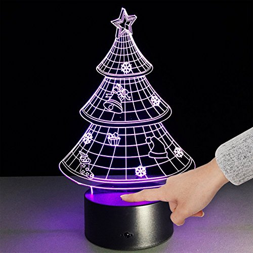 Table Light One Acrylic Lamp (Bidlsbs 3D LED Multicolor Christmas Tree Decorative Night Lights, USB Rechargeable Touch Button Desk Table Night Lighting Lamps for Nursery Kids Room Girls Baby Children's Bedroom Home Decor)
