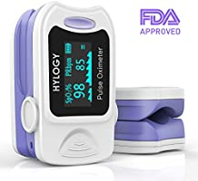 Pulse Oximeter Hylogy Blood Oxygen Saturation Monitor with Carrying Bag,Batteries and Lanyard, Automatic Shutdown and Fast Reading Fit for Family Health Care (White)