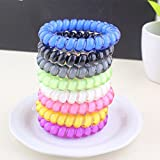 Aranher(TM)) 5pcs Telephone Wire Cord Head Rings Hair Band Ponytail Holder Candy-colored