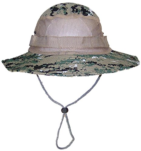 Tropic Hats Adult Camouflage Ripstop boonie W/Mesh & Snap Up Sides (One Size) - NWU-3 Temperate Digital Camo