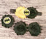 Black and Yellow Batman Headband, Elastic Bracelet, and Barefoot Sandal Set.