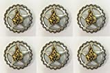 Conchos for Clothes Set of 6 Western Horse Saddle TACK Antique Gold Bronco Rider Star Conchos 3/4''