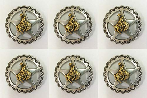 Conchos for Clothes Set of 6 Western Horse Saddle TACK Antique Gold Bronco Rider Star Conchos 3/4