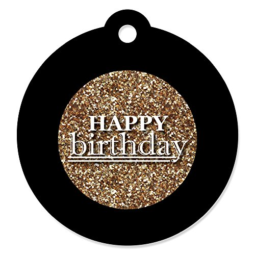 Adult Happy Birthday - Gold - Birthday Party Favor Gift Tags (Set of ()
