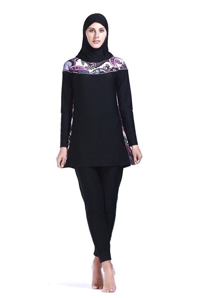 Women Muslim Swimwear Full Coverage Islamic Modest Swimsuit 3 Pieces Full Body with Hijab Sun Protection (2XL, MS09)
