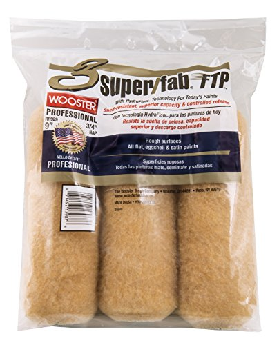 The Wooster Brush Company RR929-9 Super Fab FTP Roller Cover 3/4-Inch Nap, 3-Pack (Best Roller For Exterior Painting)