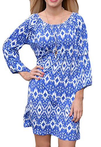Short Cromoncent Off Sleeve Womens 3 Stylish Shoulder Printed Blue Dress 4 Sa8AqSw