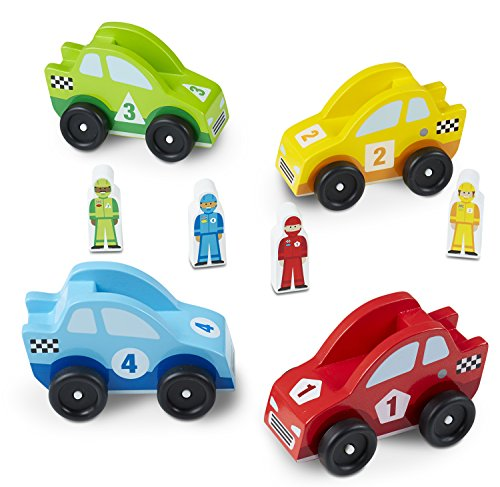 Melissa & Doug Wooden Race Car Vehicle Set (Wooden Cars Set Race)