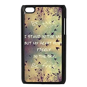 Be Free Birds Quote Protective Hard PC Back Fits Cover Case for iPod Touch 4, 4G (4th Generation)