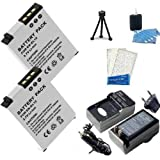 1100 mah starter kit - 2 Pack Nikon Coolpix AW100, Power2000 EN-EL12 Batteries and Charger (Includes 2-1100mAh batteries, pocket charger, mini tripod, lcd screen protectors, and camera cleaning kit) for the Nikon Coolpix S6100, S9100, S6200, S8200 ,S1000pj S1100pj S6000 S610 S610C S620 S630 S710 S8000 S8100 S640 S70,Coolpix S6300, S9300, P310