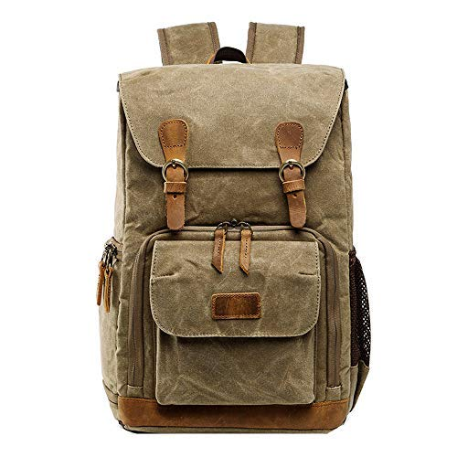 FIged 2019 Fashion Camera Backpack Vintage Waterproof Photography Canvas Bag for Camera, Lens,Laptop and Accessories Travel Use (Khaki)