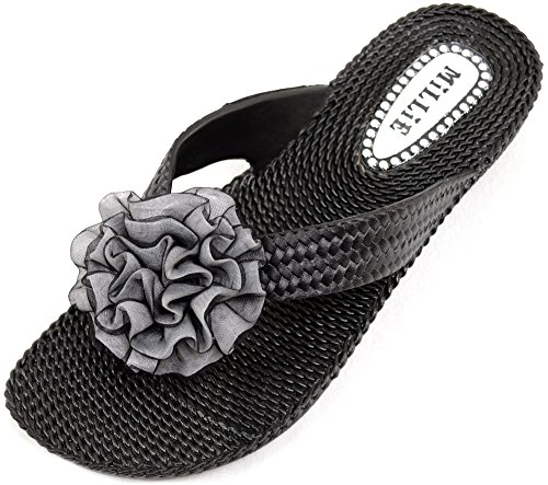 Ladies / Womens Summer / Holiday / Beach Millie Flower Sandals / Shoes / Flip Flops - Black - US (Flip Flops With Flower)