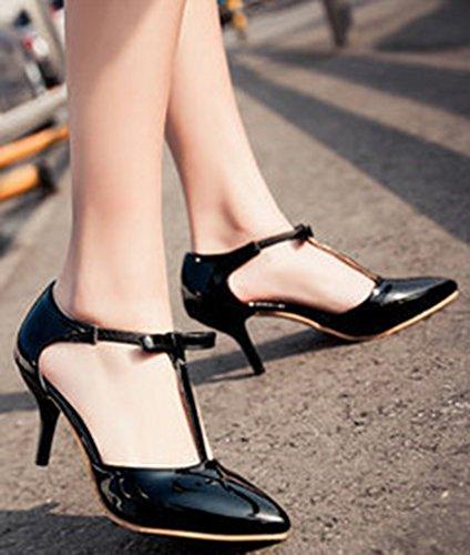 Easemax Womens Elegante Arco Punta A Punta Scarpe Basse T-strap Pumps Sandali Tacco Medio A Stiletto Neri