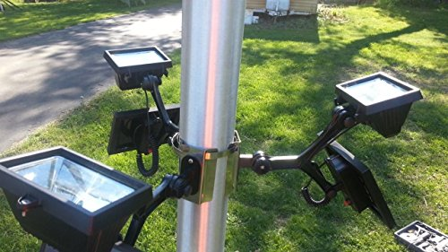 PolePalUSA Extreme Commercial Solar Flagpole Light with 3 Commercial Units