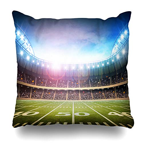 Ahawoso Throw Pillow Cover Summer Green Field Light American Stadium Sports Kickoff Recreation Rugby Soccer Goal Night Design Home Decor Zippered Pillowcase Square Size 18 x 18 Inches Cushion Case