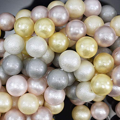 12mm Matte Multicolor Shell Pearl Round beads 16'' Strand