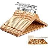 Star Work Heavy Duty Wooden Cloth Hangers- Set of 24