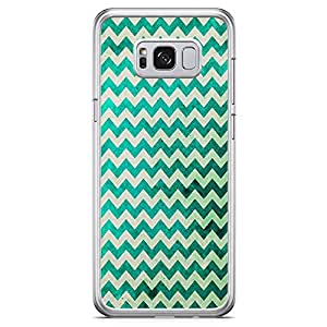 Samsung Galaxy S8 Transparent Edge Phone Case Zig Zag Phone Case Green Chevron Samsung S8 Cover with See through edges