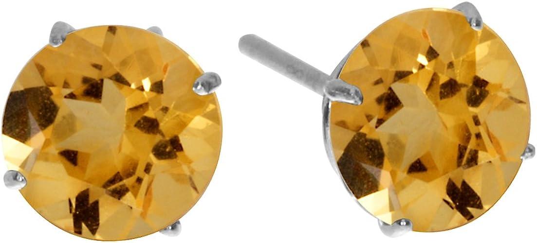 Round Citrine Stud Earrings Basket Set 14k Yellow Gold Genuine Gemstone