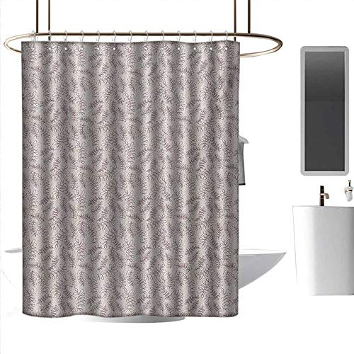 (coolteey Shower Curtains Hooks Brushed Nickel Leaves,Sketch Foliage Pattern with Victorian Inspirations Antique Motif of Medieval Period,Taupe Beige,W72 x L96,Shower Curtain for Shower stall )