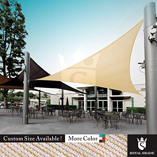 Royal Shade Custom Size Order to Make Sun Shade Sail Canopy Mesh Fabric UV Block Triangle – Commercial Standard Heavy Duty – 200 GSM – 5 Years Warranty 16 x 16 x 16 , Beige