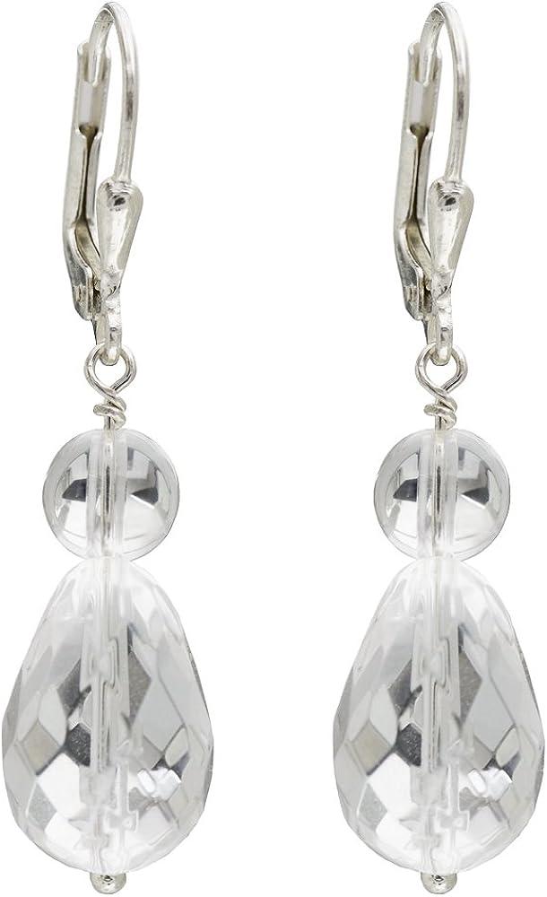 I de Be, cristal de roca piedras preciosas pendientes, 925plata, longitud 4cm, en estuche de regalo, 3811072407