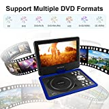 11 inch Swivel Portable DVD Player with 9.5 inch Screen For Car Travel,5 Hour Rechargeable Battery, SD Card/ USB Port- Blue (Birthday Present& Christmas Gifts for Kids, Children)
