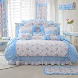 FADFAY Home Textile,New Romantic Blue Floral Bedding Set,Pink Rose Floral Print Bedding Set,Girls Fairy Duvet Cover Bedding Set