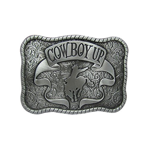 E-Clover Designer Silver Cowboy UP Horse Rodeo Western Belt Buckle for Men - Cowboy Belt Big