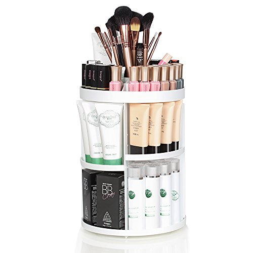 HAITRAL WHITE Rotating Makeup Organizer 360 - Make Up Organizers and Storage Containers - use as your Bathroom Organizer Perfume Organizer Countertop