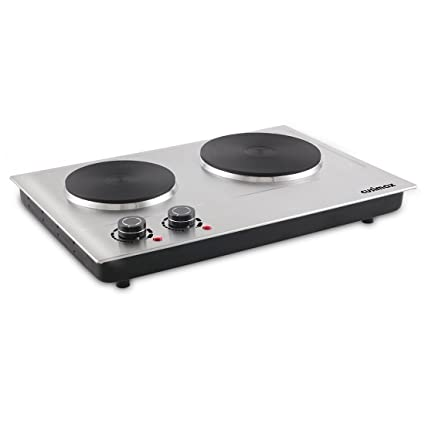 Cusimax 1800W Double Hot Plate, Stainless Countertop Burner, Silver Portable  Electric Cooktop, CMHP