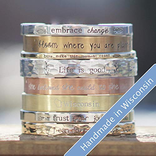 Personalized Cuff Bracelet in Aluminum, Bronze, Nickel, Gold, or Copper, 5-8