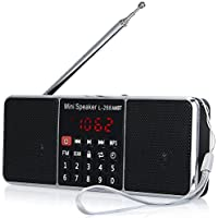LCJ Portable Mutifunctional Bluetooth Dual Bands AM FM Radio Media Wireless Speaker MP3 Music Player Support TF Card USB Disk and Clock Function,1000MAH Rechargeable Li-ion Battery(L-288AMBT-Black)