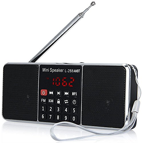 LCJ Portable Mutifunctional Bluetooth Dual Bands AM FM Radio Media Wireless Speaker MP3 Music Player Support TF Card USB Disk and Clock Function,1000MAH Rechargeable Li-ion Battery(L-288AMBT-Black