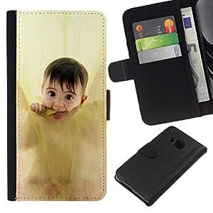 Planetar® Modelo colorido cuero carpeta tirón caso cubierta piel Holster Funda protección Para HTC One M9 ( Anne geddes cute baby )