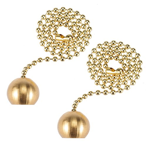 uxcell 12 inch Brass Pull Chain Ornaments Decorative Ball Pendant for Ceiling Fan Light Pack of 2 ()
