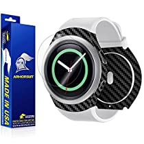 ArmorSuit MilitaryShield - Samsung Gear S2 Smartwatch Screen Protector + Black Carbon Fiber Full Body Skin Protector / Front Anti-Bubble and Extream Clarity HD Shield with Lifetime Replacements