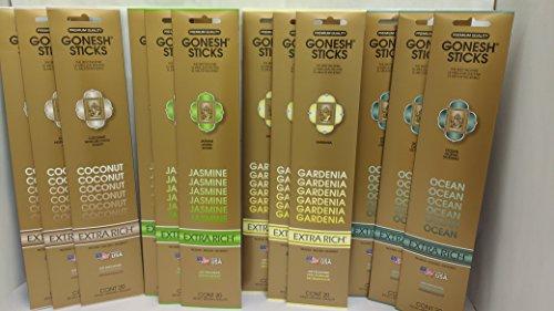 Dreams Incense (GONESH TROPICAL DREAMS ASSORTMENT (Coconut, Ocean, Gardenia, Jasmine. 3 packs each, 12 packs/240 sticks total))