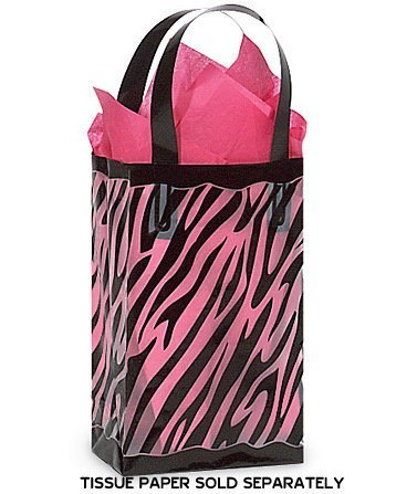 Black and Clear Zebra Plastic Shopper Bag 3 Mil 5-1/4 Inch x 3-1/4 Inch x 8-1/2 Inch- Quantity of 25 -
