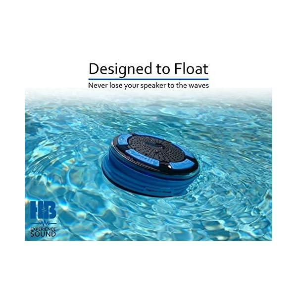 Radios de Douche - Hydro-Beat Illumination. Haut-parleur IPX7 portable entièrement étanche à l'eau avec radio FM intégrée et lumières d'ambiance LED. Rechargeable à l'aide de micro USB. (Bleu et Noir) 7