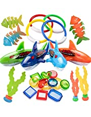 TEUN 26PCS Diving Pool Toys Underwater Swimming Pool Toys Including (4) Diving Rings (4) Toypedo Bandits (3) Stringy Octopus (3) Diving Fish and (12) Treasures Gift Set for Kids, Ages 3 and Up