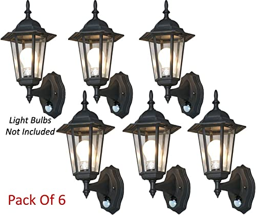 Stylish 6-Panel Wall Lantern System W IR Motion Sensor Time Lux Control Pack of 6