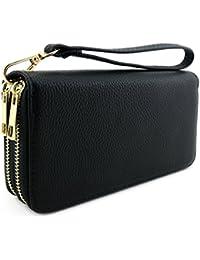 Double Zip Around Wristlet Wallet
