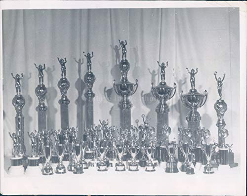 1950 Photo Trophies Winning Children Vintage Cups Boston MA Commerce Hall 8x10