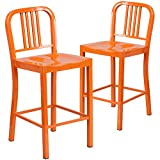"Flash Furniture 2 Pk. 24"" High Orange Metal Indoor-Outdoor Counter Height Stool"