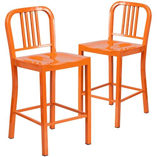 Flash Furniture 2 Pk. 24'' High Orange Metal Indoor-Outdoor Counter Height Stool