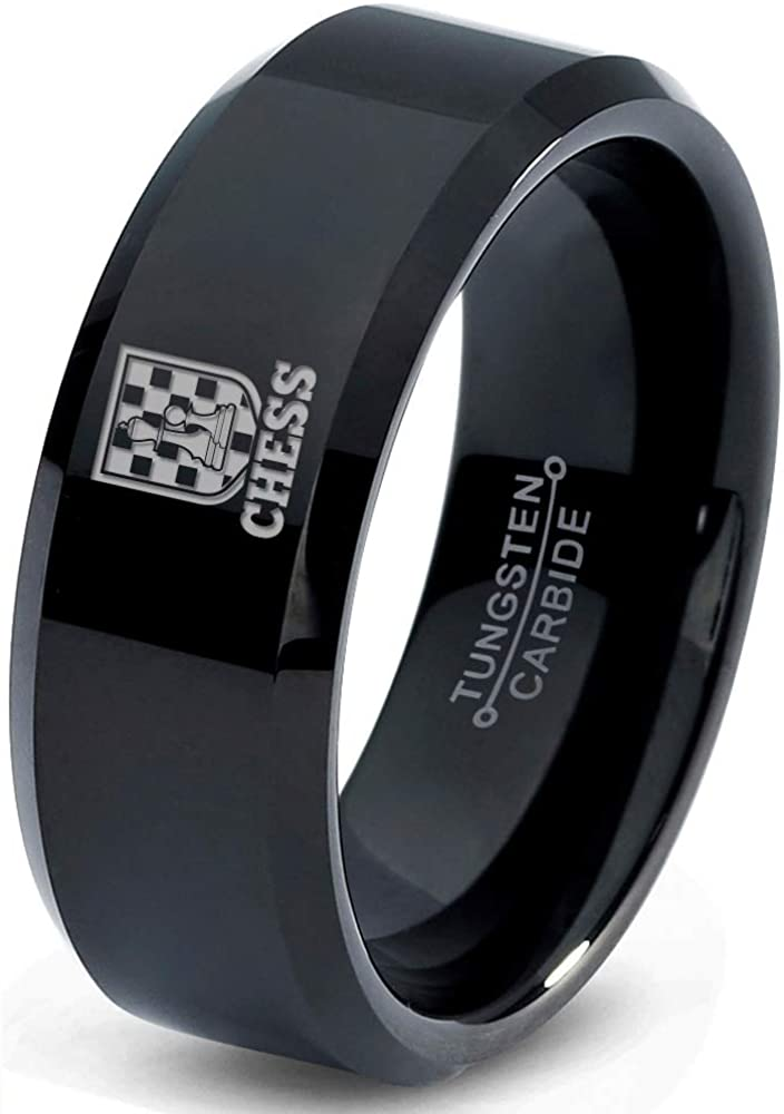 Chess Piece Checkers Game Ring - Tungsten Band 8mm - Men - Women - 18k Rose Gold Step Bevel Edge - Yellow - Grey - Blue - Black - Brushed - Polished - Wedding - Gift Dome Flat Cut