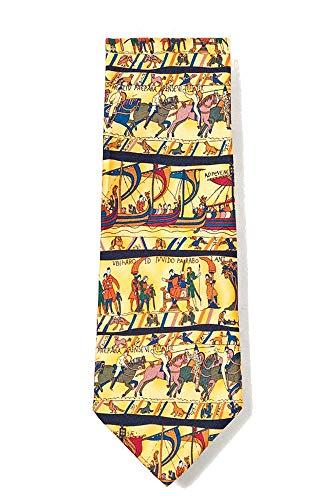 Men's 100% Silk Yellow Bayeux Tapestry Necktie Tie Neckwear Alynn Novelty Yellow Silk Ties