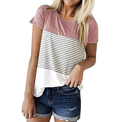 - TLTL Women Short Sleeve Triple Color Block Stripe T-Shirt Casual Blouse (S, Pink)